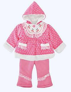 billige Tøjsæt til piger-Pige Tøjsæt Daglig Ferie Prikker, Bomuld Vinter Langærmet Sødt Lyserød