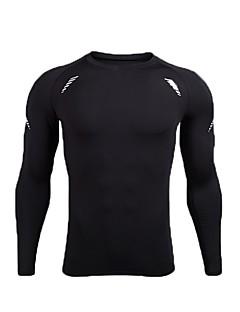 billige Løbetøj-Herre Løbe-T-shirt Langærmet Åndbarhed Træningsdragt / T-Shirt for Træning & Fitness Polyester, POLY Sort / Sort / Hvid XL / XXL / XXXL