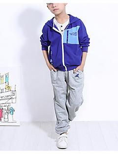 tanie Odzież dla chłopców-Dla chłopców Codzienny Wielokolorowa Komplet odzieży, Poliester Wiosna Długi rękaw Moda miejska Granatowy