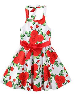 billige Pigekjoler-Pigens Kjole Fest I-byen-tøj Blomstret Trykt mønster, Polyester Sommer Uden ærmer Sødt Boheme Rød