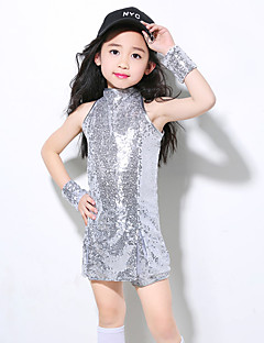 cheap Jazz Dance Wear-Jazz Outfits Training Polyester Paillette Sleeveless High Top Bracelets Shorts