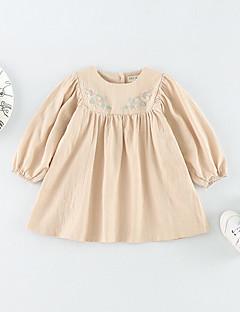 billige Babyoverdele-Baby Pige Bluse Daglig Ensfarvet, Bomuld Forår Sommer Langærmet Simple Afslappet Hvid Beige