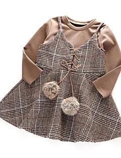 billige Tøjsæt til piger-Pige Tøjsæt Daglig I-byen-tøj Ternet, Rayon Forår Efterår Langærmet Afslappet Gade Kakifarvet