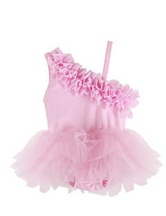 billige Babykjoler-Baby Pigens Kjole Daglig Ensfarvet Patchwork, Bomuld Polyester Spandex Sommer Uden ærmer Sødt Lyserød