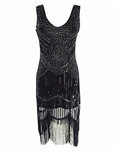 olcso Punk divat-Nagy Gatsby Vintage 1920-as Jelmez Női Koktélruha Flapper ruha Jelmez Bulikra Fekete Régies (Vintage) Cosplay Poliészter Ujjatlan Hideg