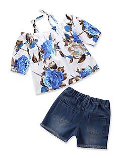 billige Tøjsæt til piger-Pige Tøjsæt Daglig I-byen-tøj Blomstret Trykt mønster, Bomuld Polyester Sommer Kortærmet Afslappet Blå