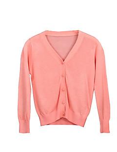 billige Sweaters og cardigans til piger-Pige Trøje og cardigan Daglig Ensfarvet, Akryl Forår Langærmet Simple Orange Rød Lyserød Grå Marineblå