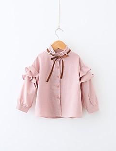 billige Pigetoppe-Pige Skjorte Daglig Stribet, Bomuld Polyester Forår Langærmet Simple Afslappet Blå Lyserød