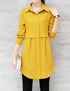 billige Skjorte-Dame Forretning Gade Skjorte - Ensfarvet, Basale Krave