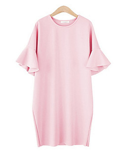 お買い得  レディースドレス-女性用 プラスサイズ ベーシック ルーズ ドレス ソリッド 膝上