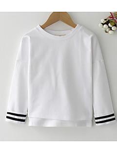billige Hættetrøjer og sweatshirts til piger-Pige Hættetrøje og sweatshirt Daglig Ensfarvet, Polyester Forår Langærmet Simple Hvid Lyserød