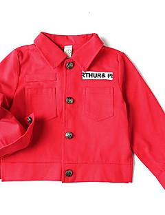 tanie Odzież dla dziewczynek-Kurtka / płaszcz Poliester Dla dziewczynek Codzienny Jendolity kolor Wiosna Długi rękaw Prosty Czerwony