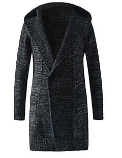 tanie Męskie swetry i swetry rozpinane-Męskie Kaptur Rozpinany Solid Color Długi rękaw / Wybierz rozmiar o jeden większy od Twojego normalnego rozmiaru.