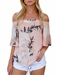 cheap -Women's Vintage Blouse - Floral, Vintage Style Floral Boat Neck Tropical Leaf