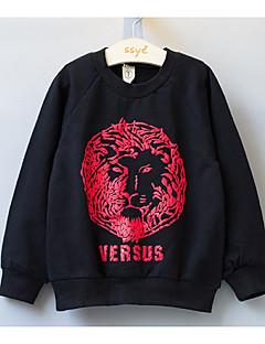 billige Hættetrøjer og sweatshirts til drenge-Drenge Hættetrøje og sweatshirt Daglig Skole Ensfarvet Dyretryk, Bomuld Forår Sommer Langærmet Simple Afslappet Sort