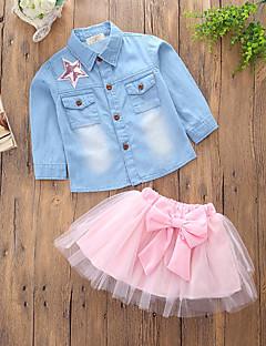 billige Tøjsæt til piger-Pige Tøjsæt Daglig I-byen-tøj Ensfarvet Patchwork, Bomuld Polyester Forår Sommer Langærmet Sødt Afslappet Lyserød
