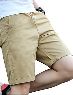 billige Herrebukser og -shorts-Herre Store størrelser Bomull Tynn Chinos / Shorts Bukser - Ensfarget Flettet Svart / Sport / Vår / Sommer