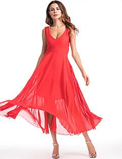 tanie SS 18 Trends-Damskie Plaża Boho Szczupła Szyfon Sukienka swingowa Sukienka - Solid Color, Sukienka prosta W serek Wysoka Talia Maxi
