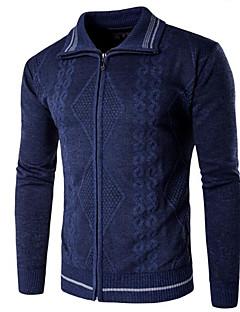 tanie Męskie swetry i swetry rozpinane-Męskie Prosty Kołnierzyk koszuli Rozpinany Jendolity kolor Długi rękaw
