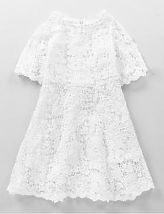 tanie Odzież dla dziewczynek-Sukienka Jedwab Bawełna Poliester Dziewczyny Impreza Codzienny Jendolity kolor Wiosna Jesień Długi rękaw Urocza Aktywny White