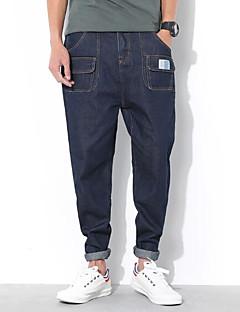 billige Herrebukser og -shorts-menns vanlige midterstige mikro elastiske jeans bukser, enkel solid rayon vår / høst