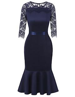 billige AW 18 Trends-Dame Kroppstett Kjole Kjole - Helfarge, Blonde Midi