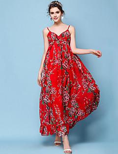 dee373f313 Women s Holiday   Beach Boho Slim Chiffon   Swing Dress - Floral Red