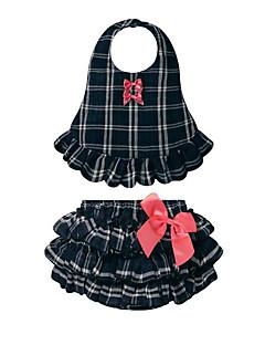 billige Babytøj-Baby Pige Tøjsæt Daglig Ferie Ternet, Bomuld Sommer Uden ærmer Afslappet Lyserød Marineblå