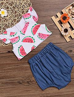 billige Sett med babyklær-Baby Pige Tøjsæt Daglig Trykt mønster, Polyester Forår Sommer Uden ærmer Aktiv Hvid