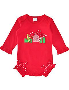 billige Babytøj-Baby Pige En del Daglig Ferie Trykt mønster, Bomuld Forår Efterår Halvlange ærmer Sødt Rød