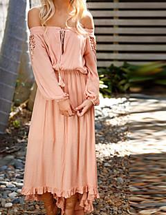 זול שמלות נשים-כתפיה סירה מתחת לכתפיים מקסי א-סימטרי תחרה, צבע אחיד - שמלה נדן רזה בוהו בגדי ריקוד נשים