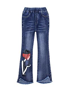 billige Bukser og leggings til piger-Ensfarvet Trykt mønster Pigens Daglig Ferie Bomuld Polyester Forår Efterår Uden ærmer Kjole Simple Afslappet Blå