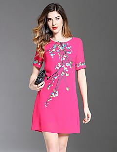お買い得  レディースドレス-女性用 キュート Aライン ドレス - 刺繍, フラワー 膝上