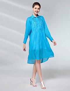 Χαμηλού Κόστους UNE FLEUR-Γυναικεία Φαρδιά Φόρεμα - Μονόχρωμο, Βασικό Ψηλή Μέση Κολάρο Πουκαμίσου