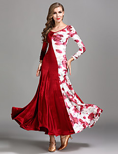 cheap Ballroom Dance Wear-Ballroom Dance Dresses Women's Training Performance Velvet Pattern / Print Long Sleeves High Dress