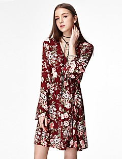 Χαμηλού Κόστους HEARTSOUL-Γυναικεία Εκλεπτυσμένο Θήκη Φόρεμα - Φλοράλ, Στάμπα Πάνω από το Γόνατο