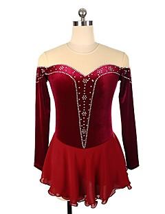0c6d2def3316 Φόρεμα για φιγούρες πατινάζ Γυναικεία   Κοριτσίστικα Patinaj Φορέματα  Μπορντώ Spandex Ελαστικό Επαγγελματική   Ανταγωνισμός Ενδυμασία πατινάζ  Πούλια   Στρας ...