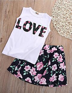 billige Tøjsæt til piger-Pige Daglig I-byen-tøj Blomstret Patchwork Tøjsæt, Bomuld Polyester Forår Sommer Uden ærmer Sødt Kineseri Sort