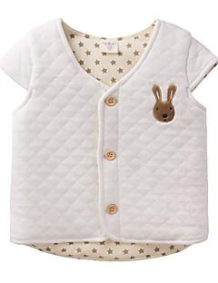 billige Overtøj til babyer-Baby Unisex dun- og bomuldsforet Daglig Ensfarvet, Polyester Forår Uden ærmer Simple Blå Hvid Lyserød Lysegrå