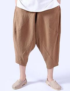 billige Herrebukser og -shorts-Herre Lin Løstsittende Bukser Ensfarget