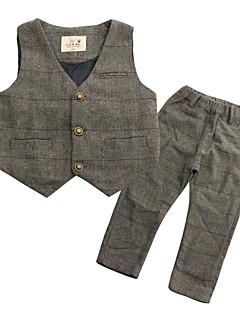 tanie Odzież dla dziewczynek-Garnitur / marynarka Poliester Dla chłopców Codzienny Pepitkę Wiosna Bez rękawów Vintage Navy Blue Gray