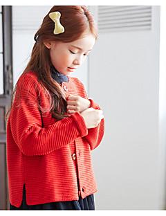 billige Sweaters og cardigans til piger-Pige Trøje og cardigan Daglig Ensfarvet, Polyester Forår Langærmet Blå Rød Gul Rosa Lysegrå