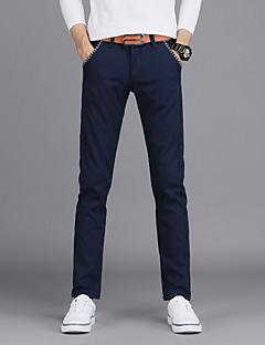 billige Herrebukser og -shorts-menns vanlige midterstige mikro elastiske chinos bukser, enkel solid bomull alle årstider