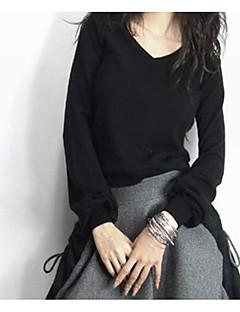 tanie Swetry damskie-Damskie Prosty W serek Pulower - Nadruk, Solid Color Długi rękaw