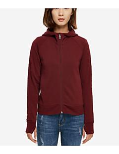 tanie Damskie bluzy z kapturem-Damskie Prosty Bawełna Bluza z Kapturem - Jendolity kolor