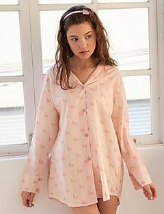 billige Moteundertøy-Dame Skjortekrage Sateng og silke Pyjamas - Geometrisk