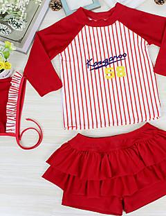 billige Badetøj til piger-Pige Sødt Aktiv Stribet Badetøj, Nylon Halvlange ærmer Rød