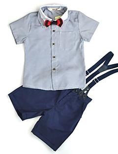 billige Tøjsæt til drenge-Drenge Daglig I-byen-tøj Ensfarvet Tøjsæt, Bomuld Akryl Polyester Forår Sommer Kortærmet Simple Afslappet Lyseblå