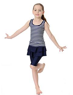 billige Badetøj til piger-Pige Boheme Farveblok Badetøj, Polyester Nylon Spandex Halvlange ærmer Uden ærmer Lyserød Navyblå