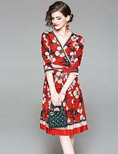 Χαμηλού Κόστους EWUS-Γυναικεία Βασικό Γραμμή Α Φόρεμα - Φλοράλ, Στάμπα Ως το Γόνατο